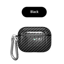 black Carbon Fiber Shockproof Protective Case For AirPods Pro with Carabiner-Protective Cases for Airpods-TheWantsies.com