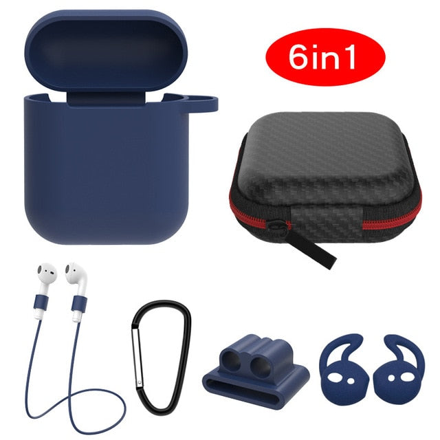 dark blue 6 in 1 Airpods Set Protective Silicone Case, Watch Strap, Earhooks, Carabiner, Anti-Lost Strap & Bag-Protective Cases for Airpods-TheWantsies.com