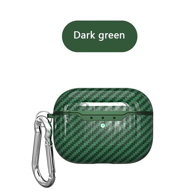 green Carbon Fiber Shockproof Protective Case For AirPods Pro with Carabiner-Protective Cases for Airpods-TheWantsies.com