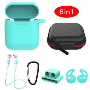 mint green 6 in 1 Airpods Set Protective Silicone Case, Watch Strap, Earhooks, Carabiner, Anti-Lost Strap & Bag-Protective Cases for Airpods-TheWantsies.com
