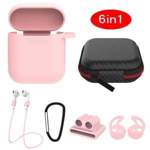 pink 6 in 1 Airpods Set Protective Silicone Case, Watch Strap, Earhooks, Carabiner, Anti-Lost Strap & Bag-Protective Cases for Airpods-TheWantsies.com