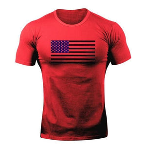 Red Flag WantsieFit Mens American Flag Fitness Compression T-Shirt - Bodybuilding Athletic Fit-T-Shirts-M-TheWantsies.com