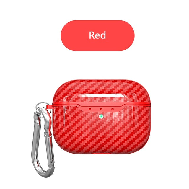 red Carbon Fiber Shockproof Protective Case For AirPods Pro with Carabiner-Protective Cases for Airpods-TheWantsies.com