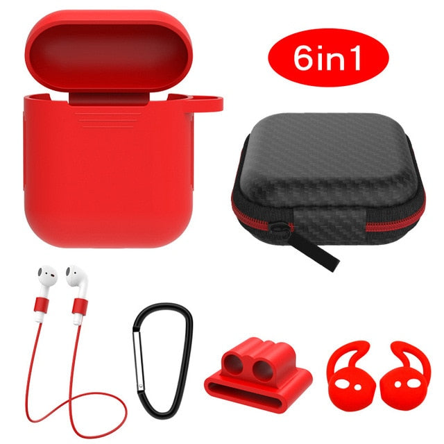 red 6 in 1 Airpods Set Protective Silicone Case, Watch Strap, Earhooks, Carabiner, Anti-Lost Strap & Bag-Protective Cases for Airpods-TheWantsies.com
