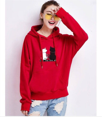red cat hoodie Women's Black and White Cat Love Hoodie Sweatshirt-Hoodies & Sweatshirts-S-TheWantsies.com