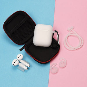 clear 6 in 1 Airpods Set Protective Silicone Case, Watch Strap, Earhooks, Carabiner, Anti-Lost Strap & Bag-Protective Cases for Airpods-TheWantsies.com