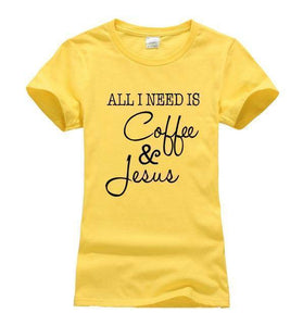 yellow1 Women's All I Need Is Coffee and Jesus T-shirt-T-Shirts-S-TheWantsies.com