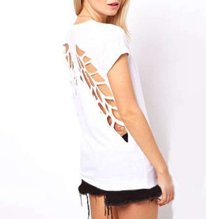 WantsieFit Angel Wings Sliced Cut Out T-shirt-T-Shirts-TheWantsies.com