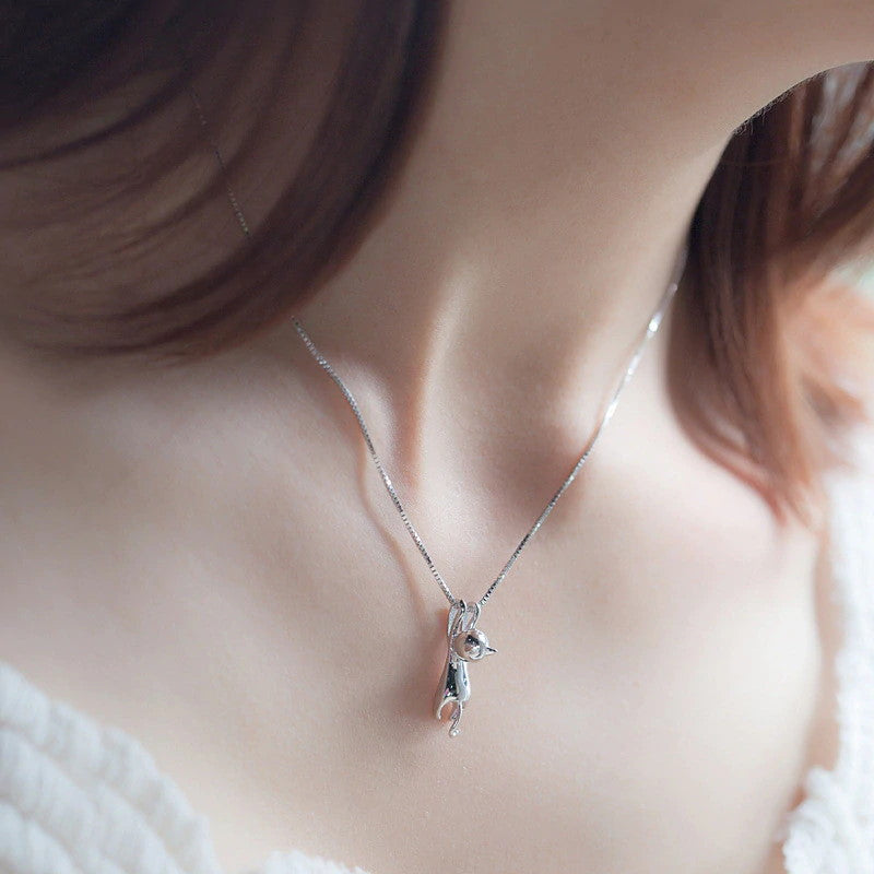 925 Sterling Silver Sneaky Spy Cat Lover Pendant Necklace-Chain Necklaces-TheWantsies.com