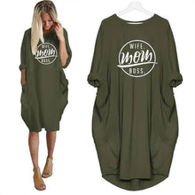 Green Wife Mom Boss Oversized Long T-shirt Dress with Pockets-Clothing-S-TheWantsies.com
