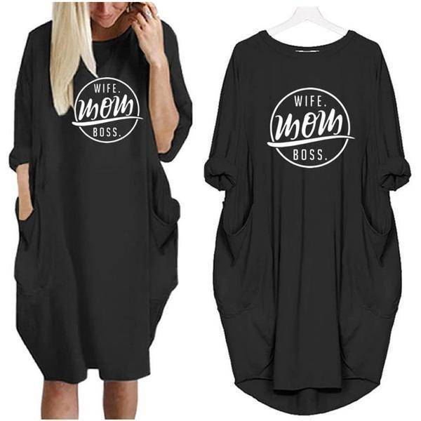 exquisite style classic style of 2019 classic fit Wife Mom Boss Oversized Long T-shirt Dress with Pockets