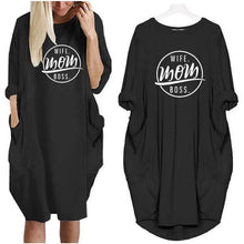 Black Wife Mom Boss Oversized Long T-shirt Dress with Pockets-Clothing-S-TheWantsies.com