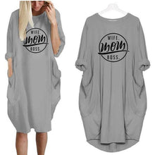 Gray Wife Mom Boss Oversized Long T-shirt Dress with Pockets-Clothing-S-TheWantsies.com