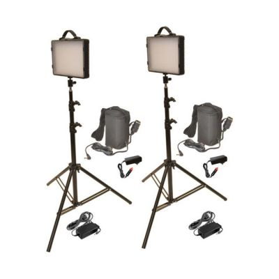Bescor Dual 300W LED Studio Light & Battery Kit