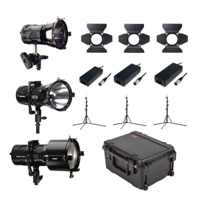 Hive Lighting 3 Light Kit with 1 Bee 50-C Par Spot, 1 Wasp 100-C Par Spot and 1 Hornet 200-C Fresnel with 3 Stands and Case (Custom Foam)