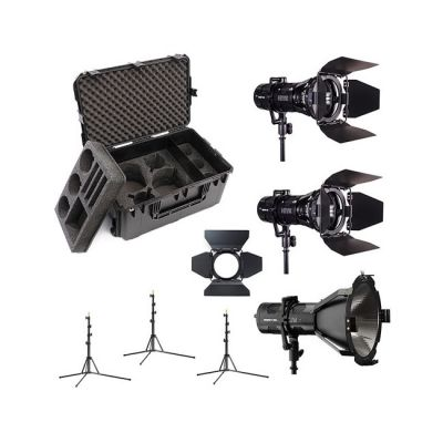 Hive Lighting 3 Light Kit with 1 HORNET 200-C Par Spot Light & 2 WASP 100-C Par Spot Lights, 3 Stands & C-Series 3 Light Hard Rolling Case with Custom Foam