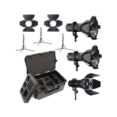 Hive Lighting 3 Light Kit with 2 HORNET 200-C Par Spot Lights & 1 WASP 100-C Par Spot Light, 3 Stands & C-Series 3 Light Hard Rolling Case with Custom Foam