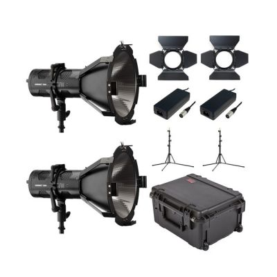 Hive Lighting HORNET 200-C Par Spot 2 Light Kit with 2 Stands and Case (Padded Dividers)