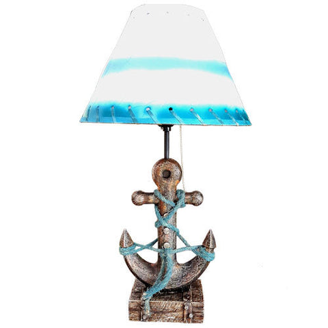 Pella Goods - Blue And White Nautical Anchor Lamp,Nautical Decor-