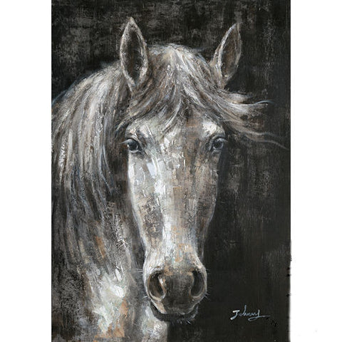 Pella Goods - Black And White Horse Canvas,Canvas Picture-