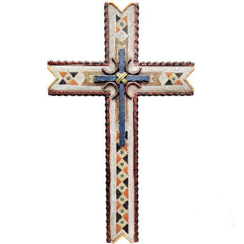 Pella Goods - Blue Aztec Cross,Wall Cross-