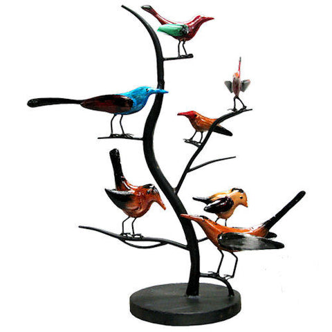 Pella Goods - Colorful Birds On A Tree Metal Decor,Metal Decor-