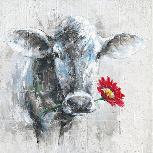 Pella Goods - Cow With Red Flower Canvas,Canvas Picture-