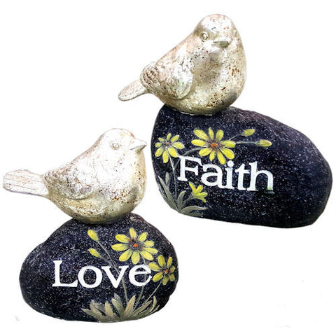 Pella Goods - 'Love''Faith' Birds On Rock,Birds & Farm Decor-
