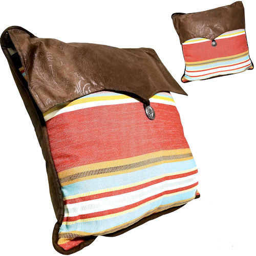 Pella Goods - Montana Throw Pillow With Leather,Throw Pillow-