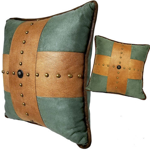 Pella Goods - Turquoise Cross Studded Leather Throw Pillow,Throw Pillow-