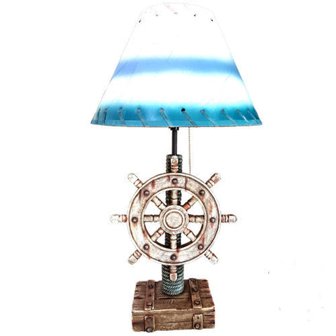 Pella Goods - Blue And White Nautical Wheel Lamp,Nautical Decor-
