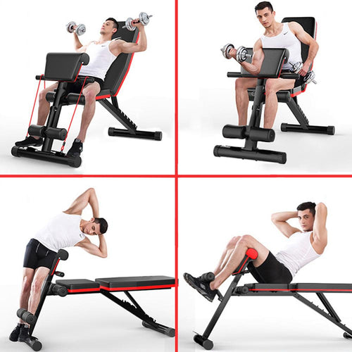 New Multifunctional Folding Dumbbell Bench, 7 Gear Backrest, Abdominal Training Bench
