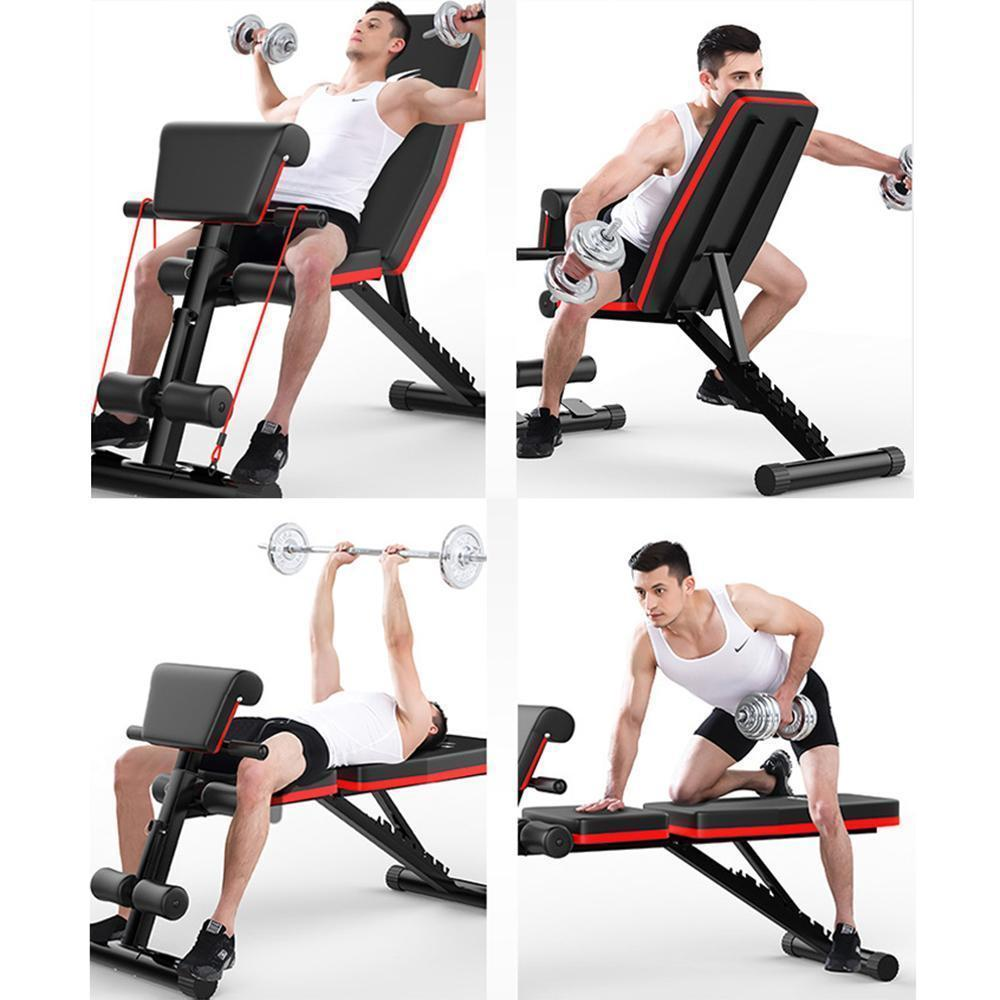 Bonnieshoes New Multifunctional Folding Dumbbell Bench, 7 Gear Backrest, Abdominal Training Bench