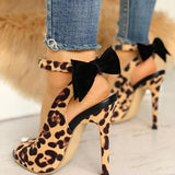 Bonnieshoes Leopard Bow High Heel Sandals