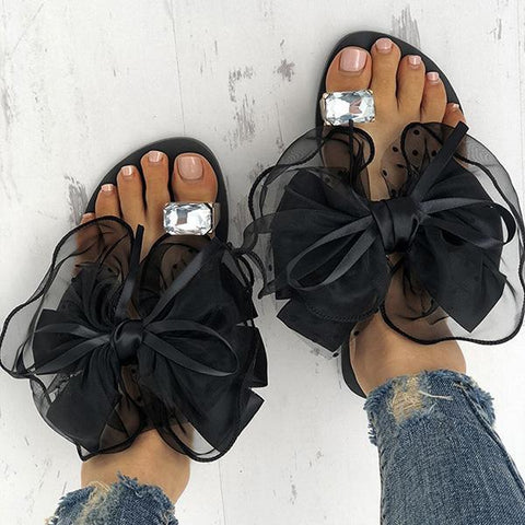 Bonnieshoes  Cute Bow Deco Rhinestone Slippers