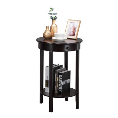Simple Round With Drawer Side Table Brown [Delivery in 3-7 days]