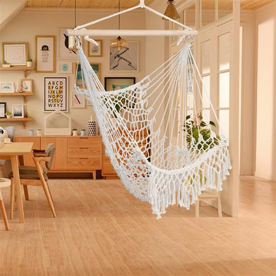 Cotton Rope Sling Chair With Tassel Beige [Delivery in 3-7 days]