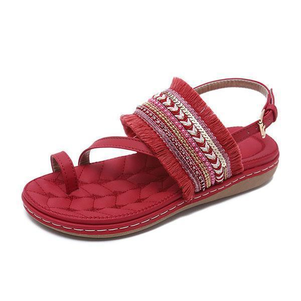 Bonnieshoes Fashion Casual Fringed Beach Sandals