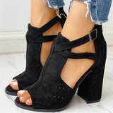 Bonnieshoes Peep Toe Hollow Out Chunky Heels Sandals