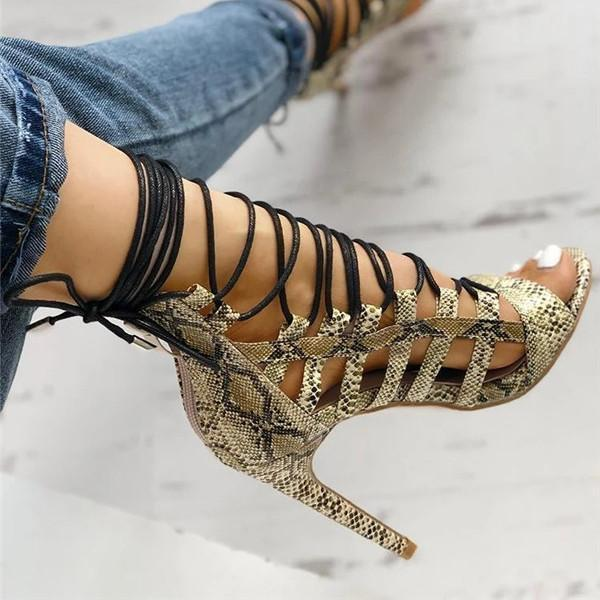 Bonnieshoes Open Toed Lace-Up Thin Heeled Sandals