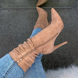 Bonnieshoes Side Zipper High Heel Boots