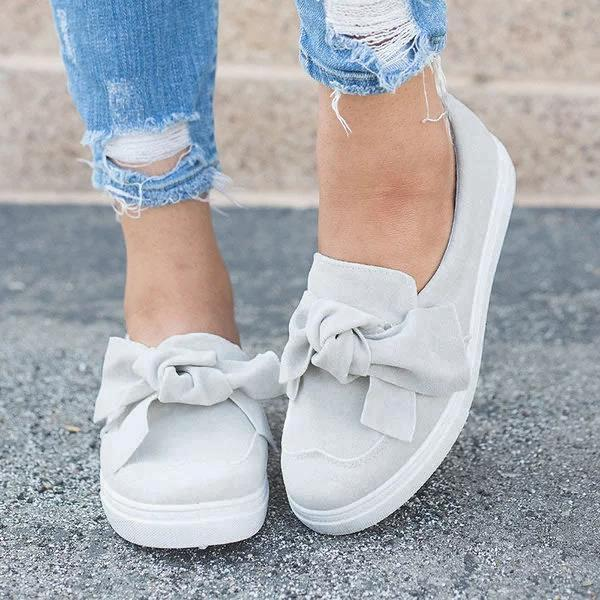 Bonnieshoes Women's Fashion Top Knot Wide Casual Slip-on Sneakers