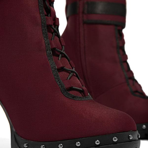 Bonnieshoes Wine Red High Heel Boots