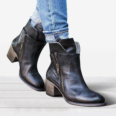 Bonnieshoes Women Chunky Heel Side Zipper Boots