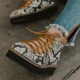 Bonnieshoes Stylish Lace-up Flat Snake Skin Boots