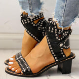 Bonnieshoes Open Toe Rivet Chunky Heeled Sandals For Women