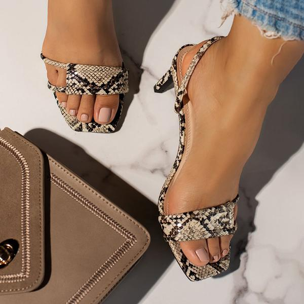Bonnieshoes Fashion Square Toe Heels Sandals