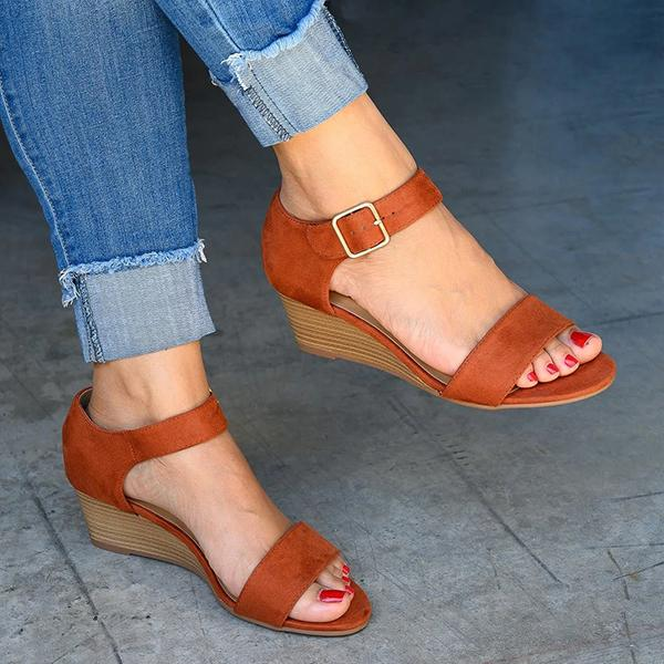 Bonnieshoes Daily Comfy Low Heel Wedge Sandals