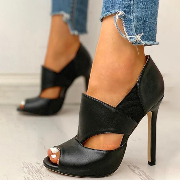 Bonnieshoes Solid Hollow Out Design Peep Toe Thin Heels