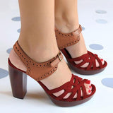 Bonnieshoes Peep Toe Chunky Heel PU Casual Buckle Sandals